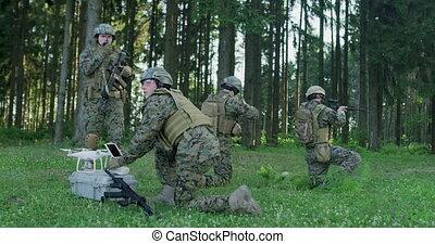 bourdon, préparer, préparer, action, déploiement, militaire, soldats