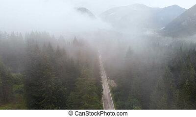bourdon, route, brouillard, montagne, pluie