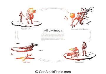 bourdons, sapper, air, bataille, -, ensemble, attaque, sous-marin, roket, concept, vecteur, robots, militaire