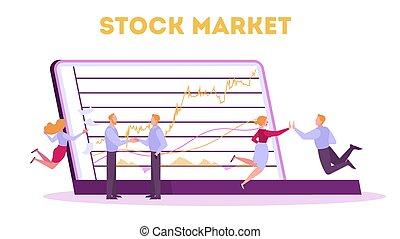 bourse, idée, concept., finance, investissement