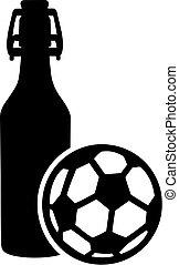 bouteille, balle, bière, football