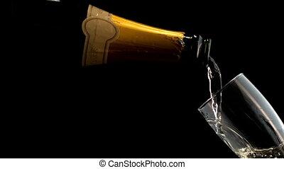 bouteille, champagne, remplissage, flûte