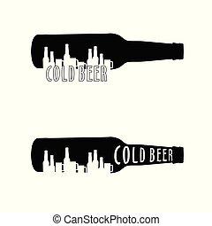 bouteille, froid, ensemble, bière, illustration