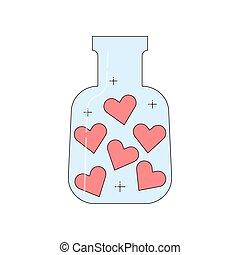 bouteille, vecteur, illustration., isolé, object., cœurs, intérieur.