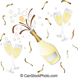 bouteille, verre, champagne