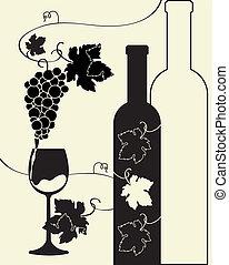 bouteille verre, raisins, vin