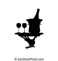 bouteille vin, illustration, lunettes
