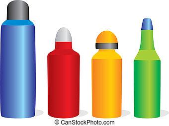 bouteilles, aluminium, isolé