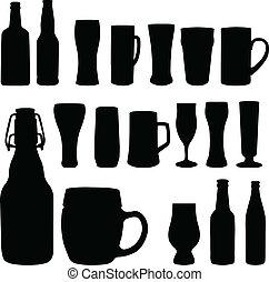 bouteilles bière, lunettes