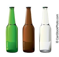 bouteilles, bière, vecteur