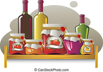bouteilles, boîtes, étagères
