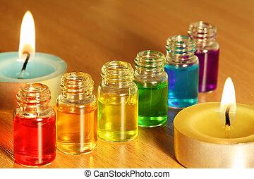 bouteilles, coloré, bougies, six, deux, arôme, huiles, table, rang