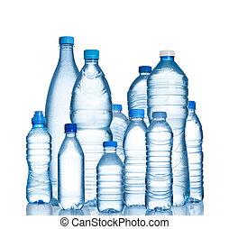 bouteilles eau, plastique, beaucoup