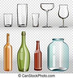bouteilles, verre, set., réaliste, ans, transparent, 3d