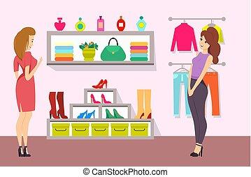 boutique, vecteur, achats, accessoires, femmes