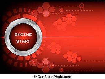 bouton, abstrack, moteur, fond, début, technologie, rouges