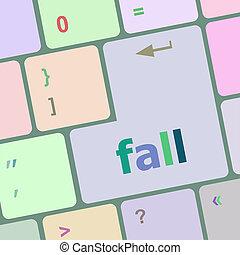 bouton, automne, ordinateur pc, clã©, clavier