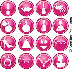bouton, beauté, icônes