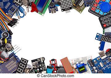 bouton, capteur, électronique, exposer, isolé, espace, commutateurs, microcontroller, fond, accessoires, copie, cadre, collage, blanc, concept, équipement, câble, planche, fil