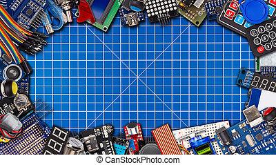 bouton, capteur, 16to9, électronique, exposer, espace, panorama, commutateurs, microcontroller, fond, large, accessoires, copie, cadre, natte, collage, concept, équipement, découpage, câble, planche, bleu, fil