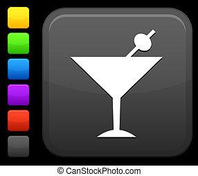 bouton, carrée, martini, icône, internet