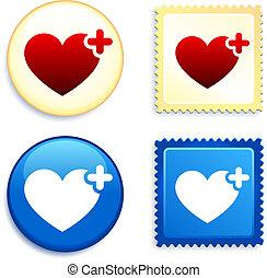 bouton, coeur, monde médical, timbre