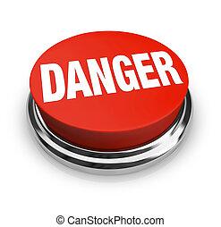 bouton, -, danger, mot, être, rond, prudence, rouges, usage, alerte