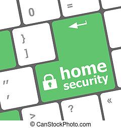 bouton, entrer, informatique, sécurité, fond, clavier, sécurité maison, concept:, icône