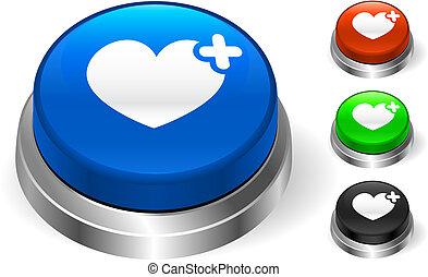 bouton, icône, coeur, internet