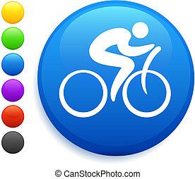 bouton, icône, rond, cycliste, internet
