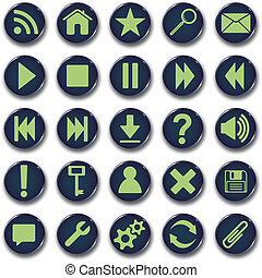 bouton, icônes, rond, ensemble
