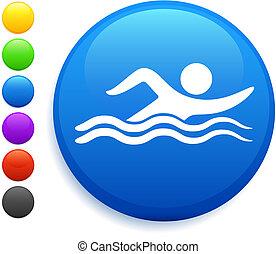 bouton, natation, icône, rond, internet
