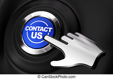 bouton, nous, contact, informatique, arrière-plan noir, main.