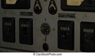 bouton, planche, soviétique, électricien, électrique, vieux, presses