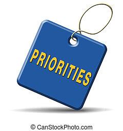 bouton, priorities