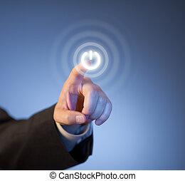 bouton puissance, virtuel, homme, urgent, doigt, écran tactile