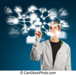 bouton, pushs, homme, réseau, social