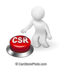 bouton, responsabilité, homme, social, 3d, constitué, csr