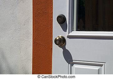 bouton, soleil, porte, extérieur, deadbolt