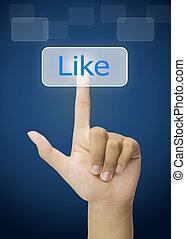 bouton, touchscreen, urgent, aimer, main