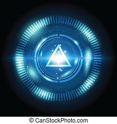 bouton, triangle, puissance, numérique