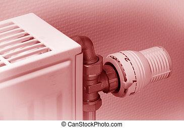 bouton, utilisé, température, poussiéreux, chauffage, radiateur