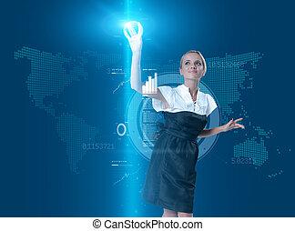 bouton, virtuel, toucher, séduisant, interface, blond, avenir