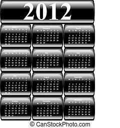 boutons, 2012, vecteur, calendrier