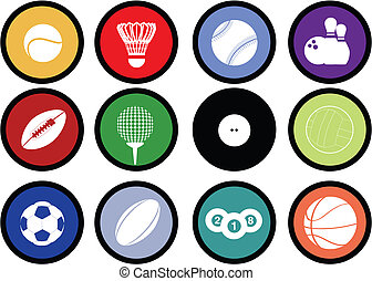 boutons, balles, sports