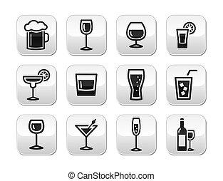 boutons, boisson, ensemble, alcool, boisson
