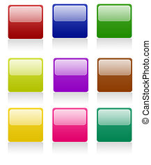 boutons, carrée, arrondi
