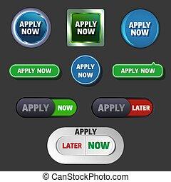 boutons, différent, icônes, vecteur, s'appliquer maintenant, styles