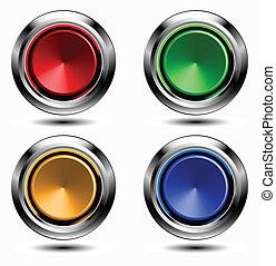 boutons, ensemble, chrome, coloré