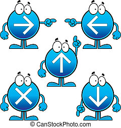boutons, ensemble, flèche, dessin animé